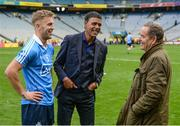 18 September 2017; Jeff Stelling and Chris Kamara congratulate Jonny Cooper of Dublin in Croke Park following the match. Watch Jeff Stelling and Chris Kamara commentate on the All-Ireland Football Final in the final episode of AIB's Jeff & Kammy's Journey to Croker airing on www.youtube.com/AIB at 5pm on Monday 25th September. For exclusive content and behind the scenes action follow AIB GAA on Facebook, Twitter, Instagram and Snapchat. Photo by Cody Glenn/Sportsfile