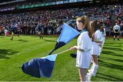 17 September 2017; eir flagbearer 13 year old Laura Haran prior to the GAA Football All-Ireland Senior Championship Final match between Dublin and Mayo at Croke Park in Dublin. Photo by Ramsey Cardy/Sportsfile