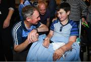 18 September 2017; Dublin manager Jim Gavin pictured with Evan McKeon, aged 12, from Co Longford during the All-Ireland Senior Football Champions visit to Our Lady's Children's Hospital in Crumlin, Dublin. Photo by David Fitzgerald/Sportsfile