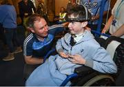 18 September 2017; Dublin manager Jim Gavin pictured with Conor Keating, aged 15, from Kilrush, Co Clare, during the All-Ireland Senior Football Champions visit to Our Lady's Children's Hospital in Crumlin, Dublin. Photo by David Fitzgerald/Sportsfile