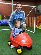 18 September 2017; Dublin player James McCarthy pictured with Dublin supporter Milana Commons, aged 3, from Dublin during the All-Ireland Senior Football Champions visit to Our Lady's Children's Hospital in Crumlin, Dublin. Photo by David Fitzgerald/Sportsfile