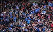 17 September 2017; Dublin supporters in the Canal End react to Dean Rock kicking their side's winning point during the GAA Football All-Ireland Senior Championship Final match between Dublin and Mayo at Croke Park in Dublin. Photo by Stephen McCarthy/Sportsfile