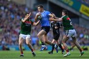 17 September 2017; Dean Rock of Dublin is tackled by Chris Barrett, left, and Brendan Harrison of Mayo during the GAA Football All-Ireland Senior Championship Final match between Dublin and Mayo at Croke Park in Dublin. Photo by Ramsey Cardy/Sportsfile
