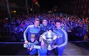 18 September 2017; Paul Flynn, left, Bernard Brogan, centre, and Darren Daly of Dublin, with Ella O'Gara and Jamie Brogan and the Sam Maguire Cup during the All-Ireland Senior Football Champions Homecoming at Smithfield Square in Dublin. Photo by David Fitzgerald/Sportsfile