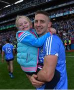 17 September 2017; Eoghan O'Gara of Dublin and his daughter Ella following the GAA Football All-Ireland Senior Championship Final match between Dublin and Mayo at Croke Park in Dublin. Photo by Ramsey Cardy/Sportsfile
