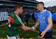 17 September 2017; Dublin's John Small shakes hands with Lee Keegan of Mayo following the GAA Football All-Ireland Senior Championship Final match between Dublin and Mayo at Croke Park in Dublin. Photo by Ramsey Cardy/Sportsfile