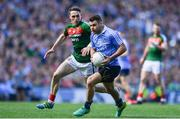 17 September 2017; Kevin McManamon of Dublin is tackled by Paddy Durcan of Mayo during the GAA Football All-Ireland Senior Championship Final match between Dublin and Mayo at Croke Park in Dublin. Photo by Ramsey Cardy/Sportsfile