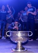 18 September 2017; Dublin's Bernard Brogan takes a photograph of the Sam Maguire Cup during the All-Ireland Senior Football Champions Homecoming at Smithfield Square in Dublin. Photo by Piaras Ó Mídheach/Sportsfile