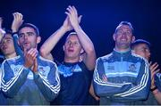 18 September 2017; Dublin footballers, from left, Brian Fenton, Niall Scully, Ciarán Kilkenny, Denis Bastick and John Small during the All-Ireland Senior Football Champions Homecoming at Smithfield Square in Dublin. Photo by Piaras Ó Mídheach/Sportsfile