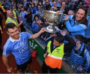 17 September 2017; Kevin McManamon celebrates with Dublin supporter Aine Ni Mhaolaodha following the GAA Football All-Ireland Senior Championship Final match between Dublin and Mayo at Croke Park in Dublin. Photo by Stephen McCarthy/Sportsfile