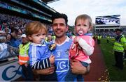 17 September 2017; Cian O'Sullivan of Dublin with his nephew Max Wendell and niece Sophie Wendell following the GAA Football All-Ireland Senior Championship Final match between Dublin and Mayo at Croke Park in Dublin. Photo by Stephen McCarthy/Sportsfile
