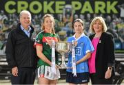 19 September 2017; The LGFA joined TG4 to call on all Proper Fans to come to Croke Park on Sunday for the TG4 The TG4 Ladies All Ireland Football Finals. Tickets are available now on www.tickets.ie or from usual GAA outlets. The action will begin at 11:45pm when Derry and Fermanagh contest the TG4 Junior All Ireland Final, this will be followed by the meeting of Tipperary and Tyrone at 1:45pm and then Dublin and Mayo will contest the TG4 Senior Championship Final at 4:00pm with the Brendan Martin Cup at stake. Pictured at the media day are, from left, Alan Esslemont, Director General, TG4, Mayo's Sarah Tierney, Dublin's Sinead Aherne, President of the Ladies Gaelic Football Association Maire Hickey. Photo by Ramsey Cardy/Sportsfile