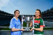 19 September 2017; The LGFA joined TG4 to call on all Proper Fans to come to Croke Park on Sunday for the TG4 The TG4 Ladies All Ireland Football Finals. Tickets are available now on www.tickets.ie or from usual GAA outlets. The action will begin at 11:45pm when Derry and Fermanagh contest the TG4 Junior All Ireland Final, this will be followed by the meeting of Tipperary and Tyrone at 1:45pm and then Dublin and Mayo will contest the TG4 Senior Championship Final at 4:00pm with the Brendan Martin Cup at stake. Pictured at the media day are Dublin's Sinead Aherne and Mayo's Sarah Tierney. Photo by Ramsey Cardy/Sportsfile