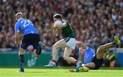 17 September 2017; Paddy Durcan of Mayo in action against Paul Mannion, right, and Eoghan O'Gara of Dublin during the GAA Football All-Ireland Senior Championship Final match between Dublin and Mayo at Croke Park in Dublin. Photo by Sam Barnes/Sportsfile