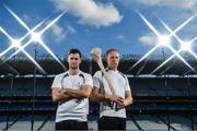 19 September 2017; PwC's sponsorship of the PwC All-Stars was celebrated with an event at Croke Park. The new partnership with the GAA and GPA was officially confirmed last Friday. Uachtarán Chumann Lúthcleas Gael Aogán Ó Fearghail, GPA Chief Executive Dermot Earley and Feargal O'Rourke, Managing Partner, PwC were joined by Galway's All Ireland winning hurling captain David Burke, Waterford hurling captain Kevin Moran and Kerry footballer Paul Geaney at the event. Pictured are David Burke, left, of Galway and Kevin Moran of Waterford in attendance during the PwC All-Stars hurling nominations at Croke Park in Dublin. Photo by Brendan Moran/Sportsfile