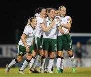 19 September 2017; Republic of Ireland players, from left, Harriet Scott, Megan Campbell, Niamh Fahey and Diane Caldwell celebrate their first goal during the 2019 FIFA Women's World Cup Qualifier Group 3 match between Northern Ireland and Republic of Ireland at Mourneview Park in Lurgan, Co Armagh. Photo by Stephen McCarthy/Sportsfile