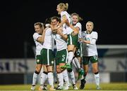 19 September 2017; Republic of Ireland players, from left, Harriet Scott, Megan Campbell, Niamh Fahey, Diane Caldwell, Leanne Kiernan and Denise O'Sullivan celebrate their first goal during the 2019 FIFA Women's World Cup Qualifier Group 3 match between Northern Ireland and Republic of Ireland at Mourneview Park in Lurgan, Co Armagh. Photo by Stephen McCarthy/Sportsfile