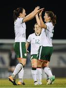 19 September 2017; Megan Campbell is congratulated by her Republic of Ireland team-mate Niamh Fahey, right, after her throw lead to their first goal during the 2019 FIFA Women's World Cup Qualifier Group 3 match between Northern Ireland and Republic of Ireland at Mourneview Park in Lurgan, Co Armagh. Photo by Stephen McCarthy/Sportsfile