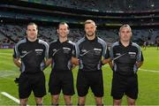17 September 2017; Referee Anthony Nolan, second from right, with his officials Martin Mcnally, Jerome Henry and James Molloy before the Electric Ireland GAA Football All-Ireland Minor Championship Final match between Kerry and Derry at Croke Park in Dublin. Photo by Ray McManus/Sportsfile
