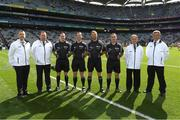 17 September 2017; Referee Anthony Nolan, 5th from right, with his officials Martin Mcnally, Jerome Henry and James Molloy and his umpires Damien Byrne Donal O'Keeffe, Peter Case and Patrick Doyle before the Electric Ireland GAA Football All-Ireland Minor Championship Final match between Kerry and Derry at Croke Park in Dublin. Photo by Ray McManus/Sportsfile