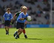 17 September 2017; Cillian Byrne, Poulfur National School, New Ross, Co. Wexford, representing Dublin, during the INTO Cumann na mBunscol GAA Respect Exhibition Go Games at Dublin v Mayo GAA Football All-Ireland Senior Championship Final at Croke Park in Dublin. Photo by Ray McManus/Sportsfile