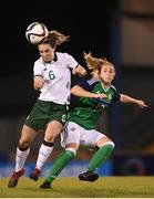 19 September 2017; Karen Duggan of the Republic of Ireland in action against Rachel Furness of Northern Ireland during the 2019 FIFA Women's World Cup Qualifier Group 3 match between Northern Ireland and Republic of Ireland at Mourneview Park in Lurgan, Co Armagh. Photo by Stephen McCarthy/Sportsfile