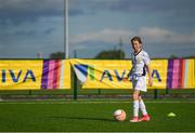 14 September 2017; Briana O'Donnell, age 11, of Mayflower Centre and Astro, Leitrim, during the Aviva Soccer Sisters Golden Camp. Forty girls from the Aviva 'Soccer Sisters' initiative were given the opportunity of a lifetime, as they took part in a special training session alongside several members of the Republic of Ireland women's senior team. The girls were selected from over 4,000 budding footballers between the ages of seven and 12 to take part in the special session at the FAI National Training Centre, as part of the 2017 Aviva Soccer Sisters Golden Camp. The Camp saw the girls sit in on a full Irish team training session, before taking to the field with the team ahead of next Tuesday's FIFA World Cup Qualifier against Northern Ireland. The Aviva Soccer Sisters programme has been running since 2010 and is aimed at engaging young girls in physical exercise and attracting them to the game of football. Over 30,000 girls have taken part in the programme since it first kicked off, including Roma McLaughlin who is part of Colin Bell's line-up for next week's qualifier.  For further information on Aviva Soccer Sisters, visit: www.aviva.ie/soccersisters  #AvivaSoccerSisters. FAI National Training Centre, Abbotstown, Dublin. Photo by Stephen McCarthy/Sportsfile
