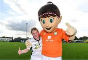 14 September 2017; Aoibheann Rankin, age 11, of Forth Celtic, Wexford, with Aviva Soccer Sisters mascot Cara during the Aviva Soccer Sisters Golden Camp. Forty girls from the Aviva 'Soccer Sisters' initiative were given the opportunity of a lifetime, as they took part in a special training session alongside several members of the Republic of Ireland women's senior team. The girls were selected from over 4,000 budding footballers between the ages of seven and 12 to take part in the special session at the FAI National Training Centre, as part of the 2017 Aviva Soccer Sisters Golden Camp. The Camp saw the girls sit in on a full Irish team training session, before taking to the field with the team ahead of next Tuesday's FIFA World Cup Qualifier against Northern Ireland. The Aviva Soccer Sisters programme has been running since 2010 and is aimed at engaging young girls in physical exercise and attracting them to the game of football. Over 30,000 girls have taken part in the programme since it first kicked off, including Roma McLaughlin who is part of Colin Bell's line-up for next week's qualifier.  For further information on Aviva Soccer Sisters, visit: www.aviva.ie/soccersisters  #AvivaSoccerSisters. FAI National Training Centre, Abbotstown, Dublin. Photo by Stephen McCarthy/Sportsfile