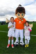 14 September 2017; Attendees, from Leitrim, with Aviva Soccer Sisters mascot Cara, Briana O'Donnell, age 11, of Mayflower Centre and Astro, and Caragh Guckian, age 8, from Mayflower Centre and Astro, during the Aviva Soccer Sisters Golden Camp. Forty girls from the Aviva 'Soccer Sisters' initiative were given the opportunity of a lifetime, as they took part in a special training session alongside several members of the Republic of Ireland women's senior team. The girls were selected from over 4,000 budding footballers between the ages of seven and 12 to take part in the special session at the FAI National Training Centre, as part of the 2017 Aviva Soccer Sisters Golden Camp. The Camp saw the girls sit in on a full Irish team training session, before taking to the field with the team ahead of next Tuesday's FIFA World Cup Qualifier against Northern Ireland. The Aviva Soccer Sisters programme has been running since 2010 and is aimed at engaging young girls in physical exercise and attracting them to the game of football. Over 30,000 girls have taken part in the programme since it first kicked off, including Roma McLaughlin who is part of Colin Bell's line-up for next week's qualifier.  For further information on Aviva Soccer Sisters, visit: www.aviva.ie/soccersisters  #AvivaSoccerSisters. FAI National Training Centre, Abbotstown, Dublin. Photo by Stephen McCarthy/Sportsfile