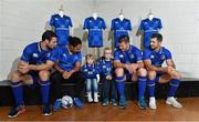 20 September 2017; In attendance at the Bank of Ireland and Leinster Rugby sponsorship announcement are, from left; Robbie Henshaw, Sophie Spence, Saorlaith, age 3, and Fionn Kelly, age 5, Sean O'Brien and Rob Kearney. Bank of Ireland and Leinster Rugby have today announced a five year extension of their sponsorship through to the 2023 season. The event was held in Tullow RFC, Tullow are the current holders of the Bank of Ireland Provincial Towns Cup. In addition to exclusive branding of all playing and training kits for the Leinster Rugby professional team, the sponsorship continues to encompass all Leinster rugby activity right through to grassroots community, schools and club level. Photo by Brendan Moran/Sportsfile