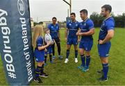 20 September 2017; In attendance at the Bank of Ireland and Leinster Rugby sponsorship announcement are, from left; Roisin Kinch, age 9, Tullow, Co. Carlow, Will O'Toole, age 7, Tullow, Co. Carlow, Sophie Spence, Rob Kearney, Sean O'Brien, and Robbie Henshaw. Bank of Ireland and Leinster Rugby have today announced a five year extension of their sponsorship through to the 2023 season. The event was held in Tullow RFC, Tullow are the current holders of the Bank of Ireland Provincial Towns Cup. In addition to exclusive branding of all playing and training kits for the Leinster Rugby professional team, the sponsorship continues to encompass all Leinster rugby activity right through to grassroots community, schools and club level. Photo by Brendan Moran/Sportsfile