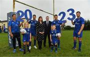 20 September 2017; In attendance at the Bank of Ireland and Leinster Rugby sponsorship announcement are, from left; Sophie Spence, Roisin Kinch, age 9, Tullow, Co Carlow, Rob Kearney, Madeline Ryan, Tullow Branch Manager, Bank of Ireland, Fergal Brosnan, Head of Carlow and Kildare, Bank of Ireland, Sean O'Brien, Will O'Toole, age 7, Tullow, Co. Carlow, and Robbie Henshaw. Bank of Ireland and Leinster Rugby have today announced a five year extension of their sponsorship through to the 2023 season. The event was held in Tullow RFC, Tullow are the current holders of the Bank of Ireland Provincial Towns Cup. In addition to exclusive branding of all playing and training kits for the Leinster Rugby professional team, the sponsorship continues to encompass all Leinster rugby activity right through to grassroots community, schools and club level. Photo by Brendan Moran/Sportsfile