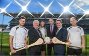 19 September 2017; PwC's sponsorship of the PwC All-Stars was celebrated with an event at Croke Park. The new partnership with the GAA and GPA was officially confirmed last Friday. Uachtarán Chumann Lúthcleas Gael Aogán Ó Fearghail, GPA Chief Executive Dermot Earley and Feargal O'Rourke, Managing Partner, PwC were joined by Galway's All Ireland winning hurling captain David Burke, Waterford hurling captain Kevin Moran and Kerry footballer Paul Geaney at the event. Pictured are, from left, David Burke of Galway, Uachtarán Chumann Lúthchleas Gael Aogán Ó Fearghail, Paul Geaney of Kerry, Dermot Earley, GPA Chief Executive, Feargal O'Rourke, Managing Partner, PwC and Kevin Moran of Waterford, during the PwC All-Stars hurling nominations at Croke Park in Dublin. Photo by Brendan Moran/Sportsfile *** NO REPRODUCTION FEE ***
