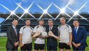 19 September 2017; PwC's sponsorship of the PwC All-Stars was celebrated with an event at Croke Park. The new partnership with the GAA and GPA was officially confirmed last Friday. Uachtarán Chumann Lúthcleas Gael Aogán Ó Fearghail, GPA Chief Executive Dermot Earley and Feargal O'Rourke, Managing Partner, PwC were joined by Galway's All Ireland winning hurling captain David Burke, Waterford hurling captain Kevin Moran and Kerry footballer Paul Geaney at the event. Pictured are, from left, Ronan Finn, Partner, PwC, David Burke of Galway, Paul Geaney of Kerry, Feargal O'Rourke, Managing Partner, PwC, Kevin Moran of Waterford, and Enda McDonagh, Head of Assurance, PwC, during the PwC All-Stars hurling nominations at Croke Park in Dublin.  Photo by Brendan Moran/Sportsfile