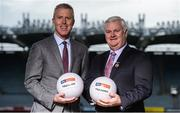 21 September 2017; Sky Sports today announced it is partnering with the GAA on three major grassroots initiatives which will see the broadcaster invest a total of €3m over five years. Pictured at Croke Park to announce Sky Sports' commitment to grassroots is JD Buckley, MD Sky Ireland and Aogán Ó Fearghaíl, President of the GAA. The three initiatives being supported include: The GAA Super Games Centres; The GAA Youth Forum and The GAA Games Development Conference. Today's announcement was made alongside the launch of The GAA Super Games Centres at Abbotstown; the first of the three grassroots initiatives that Sky Sports will support. Dublin player and newly crowned All Ireland champion Con O'Callaghan and Sky mentors Carla Rowe and Darran O'Sullivan were in attendance to announce Sky Sports' grassroots partnership with the GAA. Croke Park, in Dublin. Photo by Piaras Ó Mídheach/Sportsfile