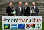 20 September 2017; In attendance during the FAI More Than A Club Launch are, from left, Brian Rohan, Cork City, Fran Gavin, Competition Director, Football Association of Ireland, Derek O'Neill, Project Manager, Football Association of Ireland and Chris Brien, Bohemians. The launch took place at FAI HQ, Abbotstown, Dublin 15. Photo by Sam Barnes/Sportsfile