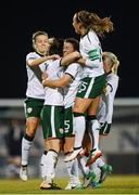 19 September 2017; Republic of Ireland players, from left, Harriet Scott, Megan Campbell, Niamh Fahey, Katie McCabe and Denise O'Sullivan celebrate their first goal during the 2019 FIFA Women's World Cup Qualifier Group 3 match between Northern Ireland and Republic of Ireland at Mourneview Park in Lurgan, Co Armagh. Photo by Stephen McCarthy/Sportsfile