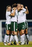 19 September 2017; Republic of Ireland players, from left, Harriet Scott, Megan Campbell, Niamh Fahey and Katie McCabe celebrate their first goal during the 2019 FIFA Women's World Cup Qualifier Group 3 match between Northern Ireland and Republic of Ireland at Mourneview Park in Lurgan, Co Armagh. Photo by Stephen McCarthy/Sportsfile