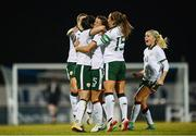 19 September 2017; Republic of Ireland players, from left, Megan Campbell, Niamh Fahey, Katie McCabe and Denise O'Sullivan celebrate their first goal during the 2019 FIFA Women's World Cup Qualifier Group 3 match between Northern Ireland and Republic of Ireland at Mourneview Park in Lurgan, Co Armagh. Photo by Stephen McCarthy/Sportsfile