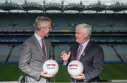 20 September 2017; Sky Sports today announced it is partnering with the GAA on three major grassroots initiatives which will see the broadcaster invest a total of €3m over five years. Pictured at Croke Park to announce Sky Sports' commitment to grassroots is JD Buckley, MD Sky Ireland and Aogán Ó Fearghaíl, President of the GAA. The three initiatives being supported include: The GAA Super Games Centres; The GAA Youth Forum and The GAA Games Development Conference. Today's announcement was made alongside the launch of The GAA Super Games Centres at Abbotstown; the first of the three grassroots initiatives that Sky Sports will support. Dublin player and newly crowned All Ireland champion Con O'Callaghan and Sky mentors Carla Rowe and Darran O'Sullivan were in attendance to announce Sky Sports' grassroots partnership with the GAA. Croke Park, in Dublin. Photo by Piaras Ó Mídheach/Sportsfile