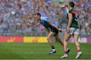 17 September 2017; Dean Rock of Dublin prepares to take the winning kick from a free late in the game, as Lee Keegan of Mayo walks by, during the GAA Football All-Ireland Senior Championship Final match between Dublin and Mayo at Croke Park in Dublin. Photo by Piaras Ó Mídheach/Sportsfile