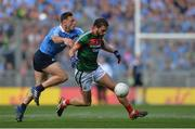17 September 2017; Tom Parsons of Mayo in action against Paul Flynn of Dublin during the GAA Football All-Ireland Senior Championship Final match between Dublin and Mayo at Croke Park in Dublin. Photo by Piaras Ó Mídheach/Sportsfile