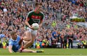 17 September 2017; Cillian O'Connor of Mayo in action against Paul Mannion of Dublin during the GAA Football All-Ireland Senior Championship Final match between Dublin and Mayo at Croke Park in Dublin. Photo by Piaras Ó Mídheach/Sportsfile
