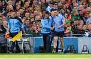 17 September 2017; Jack McCaffrey of Dublin with manager Jim Gavin after leaving the field with an injury during the GAA Football All-Ireland Senior Championship Final match between Dublin and Mayo at Croke Park in Dublin. Photo by Piaras Ó Mídheach/Sportsfile