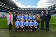 17 September 2017; President of the Ladies Football Association Marie Hickey, President of Cumann na mBunscol Liam McGee, Uachtarán Chumann Lúthchleas Gael Aogán Ó Fearghaíl, President of the INTO John Boyle, with the Dublin team, back row, left to right, Joshua Butler, St Cronans BNS, Bray, Co Wicklow, Mathew Cowley, St Michael's NS, Danesfort, Co Kilkenny, Fiachra Dowd, St Mary's NS, Ballyhaise, Co. Cavan, Roy Murphy, De La Salle NS, Ballyfermot Road, Dublin, Bryan Hayes, St Anthony's Boys NS, Ballinlough, Co Cork, Referee Eoghan Costello, St. Pius X BNS, Terenure, Dublin 6W, front row, left to right, Dylan Boyle, St Naile's PS, Kinawley, Co. Fermanagh, Cillian Byrne, Poulfur National School, New Ross, Co. Wexford, James Cranny, Bennekerry National School, Bennekerry, Co. Carlow, Ruairí McCullagh, St. Teresa's P.S., Loughmacrory, Omagh, Co. Tyrone, Max Morgan, Star of the Sea NS, Sandymount, Dublin, ahead of the INTO Cumann na mBunscol GAA Respect Exhibition Go Games at Dublin v Mayo GAA Football All-Ireland Senior Championship Final at Croke Park in Dublin. 17 September 2017; President of the Ladies Football Association Marie Hickey, President of Cumann na mBunscol Liam McGee, Uachtarán Chumann Lúthchleas Gael Aogán Ó Fearghaíl, President of the INTO John Boyle, with the xx team, back row, left to right, ahead of the INTO Cumann na mBunscol GAA Respect Exhibition Go Games at Dublin v Mayo GAA Football All-Ireland Senior Championship Final at Croke Park in Dublin. Photo by Daire Brennan/Sportsfile