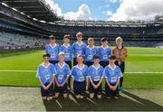 17 September 2017; The Dublin team, back row, left to right, Joshua Butler, St Cronans BNS, Bray, Co Wicklow, Mathew Cowley, St Michael's NS, Danesfort, Co Kilkenny, Fiachra Dowd, St Mary's NS, Ballyhaise, Co. Cavan, Roy Murphy, De La Salle NS, Ballyfermot Road, Dublin, Bryan Hayes, St Anthony's Boys NS, Ballinlough, Co Cork, Referee Eoghan Costello, St. Pius X BNS, Terenure, Dublin 6W, front row, left to right, Dylan Boyle, St Naile's PS, Kinawley, Co. Fermanagh, Cillian Byrne, Poulfur National School, New Ross, Co. Wexford, James Cranny, Bennekerry National School, Bennekerry, Co. Carlow, Ruairí McCullagh, St. Teresa's P.S., Loughmacrory, Omagh, Co. Tyrone, Max Morgan, Star of the Sea NS, Sandymount, Dublin, ahead of the INTO Cumann na mBunscol GAA Respect Exhibition Go Games at Dublin v Mayo GAA Football All-Ireland Senior Championship Final at Croke Park in Dublin. 17 September 2017; President of the Ladies Football Association Marie Hickey, President of Cumann na mBunscol Liam McGee, Uachtarán Chumann Lúthchleas Gael Aogán Ó Fearghaíl, President of the INTO John Boyle, with the xx team, back row, left to right, ahead of the INTO Cumann na mBunscol GAA Respect Exhibition Go Games at Dublin v Mayo GAA Football All-Ireland Senior Championship Final at Croke Park in Dublin. Photo by Daire Brennan/Sportsfile