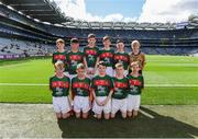 17 September 2017; The Mayo team, back row, left to right, Gerard Ó Muireartaigh, Gaelscoil Liatroma, Carrick on Shannon, Liatroma, Ryan Byrne, Cloontuskert NS, Cloontuskert, Lanesboro, Co. Roscommon, Michael Henry, St. Oliver Plunkett B.N.S., Moate, Co.Westmeath, Liam O'Connor, C.B.S. Primary School, Dundalk, Co. Louth, Conor Halley, Grange NS, Clonmel, Co. Tipperary, Referee Eoghan Costello, St. Pius X BNS, Terenure, Dublin 6W, front row, left to right, Fionán Ó Gallchóir, Gaelscoil Ultain, Bóthar Ard Mhaca, Muineachán, Ben Lynagh, Kentstown NS, Kentstown, Navan, Co. Meath, Martin Kirk, St. Finloughs PS, Limavady, Co. Derry, Ciaran Kenny, Ardkeerab NS, Riverstown, Co. Sligo, Tommy Fennell, Garranbane NS, Dungarvan, Co. Waterford, ahead of the INTO Cumann na mBunscol GAA Respect Exhibition Go Games at Dublin v Mayo GAA Football All-Ireland Senior Championship Final at Croke Park in Dublin. Photo by Daire Brennan/Sportsfile