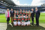 17 September 2017; President of the Ladies Football Association Marie Hickey, President of Cumann na mBunscol Liam McGee, Uachtarán Chumann Lúthchleas Gael Aogán Ó Fearghaíl, President of the INTO John Boyle, with the Mayo team, back row, left to right, Gerard Ó Muireartaigh, Gaelscoil Liatroma, Carrick on Shannon, Liatroma, Ryan Byrne, Cloontuskert NS, Cloontuskert, Lanesboro, Co. Roscommon, Michael Henry, St. Oliver Plunkett B.N.S., Moate, Co.Westmeath, Liam O'Connor, C.B.S. Primary School, Dundalk, Co. Louth, Conor Halley, Grange NS, Clonmel, Co. Tipperary, Referee Eoghan Costello, St. Pius X BNS, Terenure, Dublin 6W, front row, left to right, Fionán Ó Gallchóir, Gaelscoil Ultain, Bóthar Ard Mhaca, Muineachán, Ben Lynagh, Kentstown NS, Kentstown, Navan, Co. Meath, Martin Kirk, St. Finloughs PS, Limavady, Co. Derry, Ciaran Kenny, Ardkeerab NS, Riverstown, Co. Sligo, Tommy Fennell, Garranbane NS, Dungarvan, Co. Waterford, ahead of the INTO Cumann na mBunscol GAA Respect Exhibition Go Games at Dublin v Mayo GAA Football All-Ireland Senior Championship Final at Croke Park in Dublin. Photo by Daire Brennan/Sportsfile