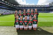 17 September 2017; The Mayo team, back row, left to right, Siofra McCreesh, Anamar PS, Crossmaglen, Co. Down, Hannah Brennan, Scoil Mhuire, Broadford, Co. Limerick, Ciara Hegarty, Corrandulla NS, Corrandulla, Co. Galway, Michaela Judge, St. Brigid's NS, Drumcong, Co. Leitrim, Freya Hardy, Petit-de-Mange, Gaelscoil Osrai, Loughboy, Cill Chainnigh, front row, left to right, Faye McEvoy, Scoil Eoin Phóil Naofa, Ballyroan, Co. Laois, Aoife Ní Standúin, Gaelscoil na Cruaiche, Cathair na Mart, Mhaig Eo, Ruby Mc Cleary, Bunscoil an tSléibhe Dhuibh, Béal Feirste, Aontroim, Grace Murtagh, Milltown NS, Milltown, Co. Kildare, Sophie Daly, Annagh NS, Miltown Malbay, Co. Clare, ahead of the INTO Cumann na mBunscol GAA Respect Exhibition Go Games at Dublin v Mayo GAA Football All-Ireland Senior Championship Final at Croke Park in Dublin. Photo by Daire Brennan/Sportsfile