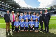 17 September 2017; President of Cumann na mBunscol Liam McGee, President of the Ladies Football Association Marie Hickey, Uachtarán Chumann Lúthchleas Gael Aogán Ó Fearghaíl, President of the INTO John Boyle, Referee Caoimhe McDaid, Belgrove GNS, Clontarf, Dublin 3, with the Dublin team, back row, left to right, Ruby Coffey, Scoil Mhairtin, Kilworth, Co. Cork, Ciara Cummins, Danecastle NS, Carrig on Bannow, Co. Wexford, Keeva Gillen, St. Mel's NS, Ardagh, Co. Longford, Sophie Dennehy, Fossa NS, Killarney, Co. Kerry, Saoirse McGuinness, St. Manchan's NS, Tubber, Moate, Co. Westmeath, front row, left to right, Iseult Reilly, Scoil Mologa,, Harolds Cross, Clareville Road, Dublin, Niamh Rice, St Bronagh's PS, Rostrevor, Co. Down, Roisin Lynch, St Naul's NS, Inver, Co. Donegal, Maeve Lydon, Scoil Treasa, Firhouse, Dublin, Aobha Harmon, Rathcoyle NS, Rathdangan, Co. Wicklow, ahead of the INTO Cumann na mBunscol GAA Respect Exhibition Go Games at Dublin v Mayo GAA Football All-Ireland Senior Championship Final at Croke Park in Dublin. Photo by Daire Brennan/Sportsfile